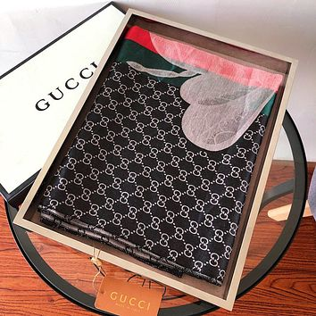 GUCCI Popular Women Men Stripe Silk Kerchief Cape Scarf Scarves Black