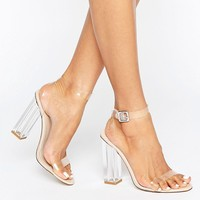 Public Desire Alia Clear Strap Block Heeled Sandals