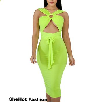 Women Sexy Neon Strapless Hollow Out Front Tie Bandage Dress