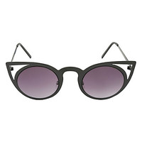 Matte Black Metal Cat Ear Cut-Out Round Sunglasses