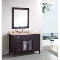 Design Element DEC302C Venetian Dark Espresso 48 Inch Single Sink Bathroom Vanity with Beige natural marble countertop