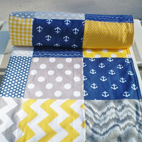 Baby quilt,Patchwork Baby blanket,baby boy bedding,baby girl quilt,nautical,grey,aqua,teal,yellow,chevron,anchors,modern,fleece,baby quilt
