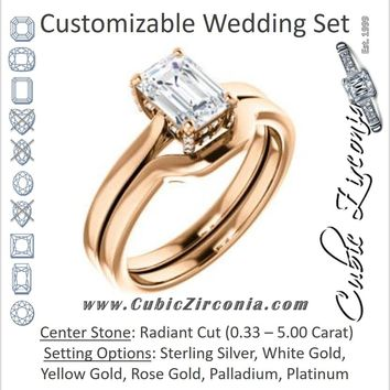 CZ Wedding Set, featuring The Aimy Jo engagement ring (Customizable Cathedral-Raised Radiant Cut with Prong Accents)