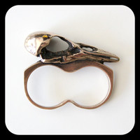 Adjustable Raven Skull Knuckle Duster Ring in Solid Bronze