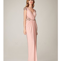 Mignon Spring 2014 Dresses - Blush Ruched Embellished Cap Sleeve Prom Dress
