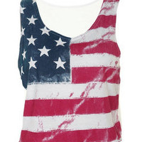 Womens American Flag print Cropped Summer Casual Ladies Vest Top T-Shirt 8-14