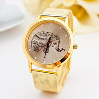 Women's Cute Elephant Gold Tone Mesh Watch Ladies