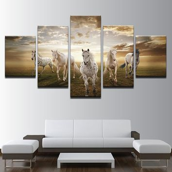 Poster Canvas Painting HD Wall Art 5 Panel Animal Horses Modern Printing Type Pictures Modular Artwork Vintage Home Decor