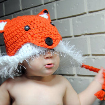 Crochet Fox Hat, Kids Fox Earflap Hat, Newborn Photo Prop, Woodland Animal Hat, Crochet Baby Hat, Toddler Crochet Hat Boys, Girls Hat Infant