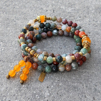Protection, jasper and yellow jade gemstone 108 bead mala convertible necklace