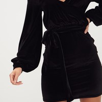 Black Velvet Balloon Sleeve Wrap Front Bardot Bodycon Dress