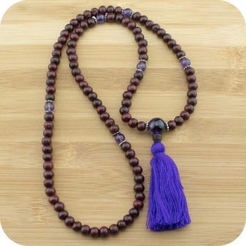 Rosewood Mala with Amethyst
