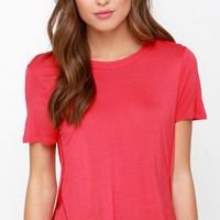 Off We Go Coral Red High-Low Tee