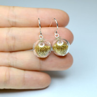 Golden fine glitter blown glass sterling silver earrings