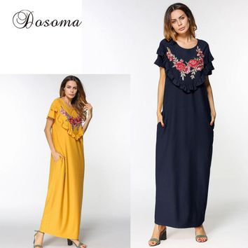 Casual Muslim Maxi Dress Abaya Flower Embroidery Cotton Loose Style Long Robe Middle East Moroccan Burka Kaftan Islamic Arab