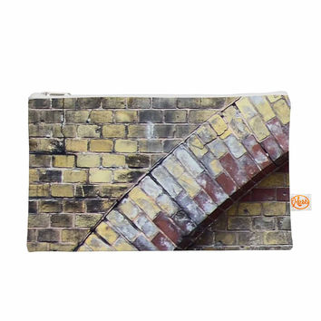 "Susan Sanders ""Painted Grunge Brick Wall"" Grey Yellow Everything Bag"