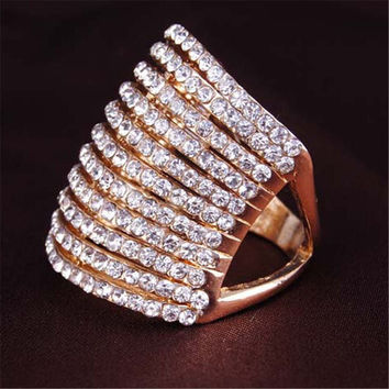 Girls Womens Old Rose Gold Diamond Ring Fashion Women Jewelry Best Gift Rings-066