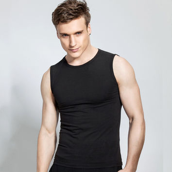 Men Summer Fashion Sleeveless Slim Round-neck Cotton Men's Fashion T-shirts [6541374211]