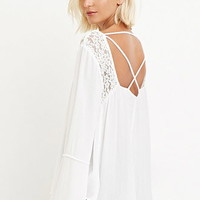 Embroidered Lace Bell-Sleeved Top