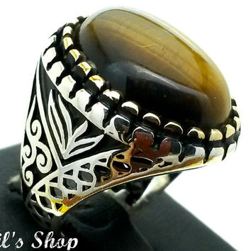 Men's Ring, Turkish Ottoman Style Jewelry, 925 Sterling Silver, Gift, Traditional Handmade, With Tiger Eye Stone, Size 9, New