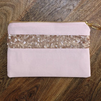 Peeked Blush Pink Sequins Clutch / Rose Gold Cosmetic Case / Small Evening Bag - Sequins + Fancy Ring Zipper Pull - Almquist Design Studio