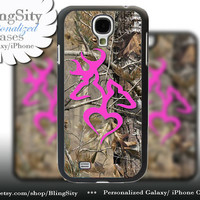 Hot Pink Browning Galaxy S4 case S5 Real Tree Camo Love Heart Buck Doe Deer Personalized Samsung Galaxy S3 Case Note 2 3 Cover Country Girl