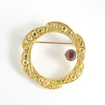 Vintage Rhinestone Circle Brooch, Gold Tone Circle Pin