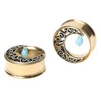 Steel Gold Filigree Moon & Turquoise Stone Plug 2 Pack