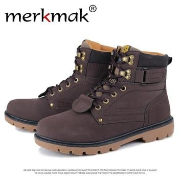 Merkmak Unisex Martin Fur Boots Autumn Winter Fashion Warm Leather Boot Outdoor Waterproof Martin Boots Ankle Zapatos Hombres