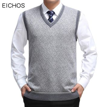 EICHOS Mens Sweater Vest Wool Pullover Sleeveless Homm Casual Knit Waistcoats Men Business V Neck Vest Male Knitted Cashmere