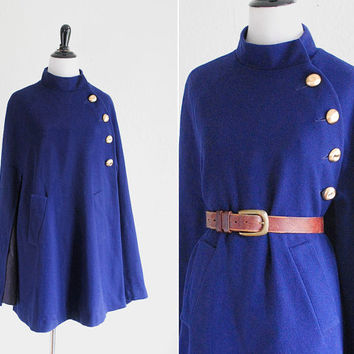 Vtg 60s mod navy wool asymmetrical cape coat / military style with brass buttons / S - L