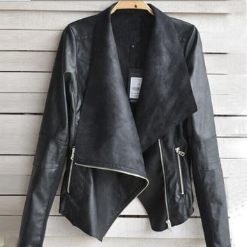 Biker Zipper Leather Coat