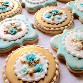 Elegant Aqua blue, Gold & Marbled Cookies with Roses- One Dozen Decorated Sugar Cookies