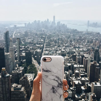 Trendy iPhone 7 & 7 Plus Case (Black and White Marble Pattern) by Casetify