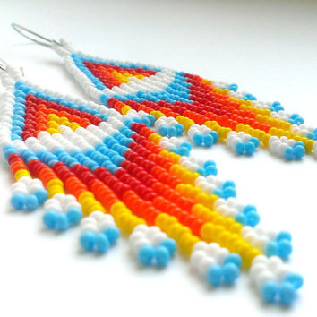 Beaded Earrings American Style-Long Dangle Earrings-Long Earrings With Fringe-Fringe Dangle Seed Bead Earrings-Light Beadwoven Long Earrings