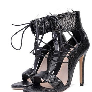 Sexy High Heels Leather Sandals Women Leather Gladiator Sandals Summer Party Shoes