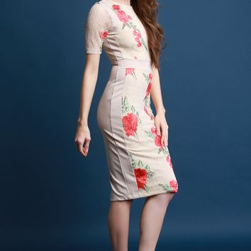 Floral Embroidered Lace Panel Midi Dress