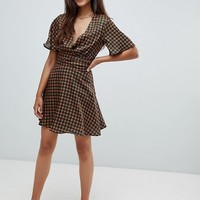 Glamorous Tall wrap tea dress in check at asos.com