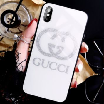 GUCCI women's glass luxury iphone7/8 plus personality all-inclusive mobile phone shell white