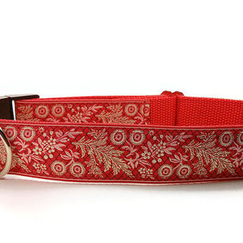 French Garland in Red Handmade Large Dog Collar Leash Set