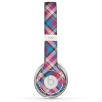 The Striped Vintage Pink & Blue Plaid Skin for the Beats by Dre Solo 2 Headphones