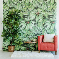 "Banana Leaf - Large Wall Mural, Watercolor Mural, Martinique Wallpaper, 100"" x 108"""
