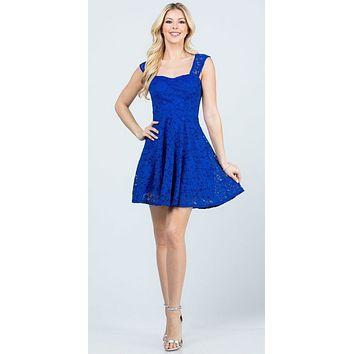 Lace Royal Blue Short Dress Skater A-Line Sleeveless