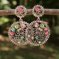 Large Long Dangle Earrings Multicolor Rhinestone Earrings Filigree Sparkle Evening Formal Dressy Vintage Post Earring Womens Vintage Jewelry