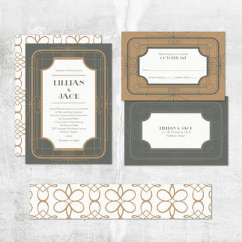 Printable Wedding Invitation - Deco Dream - Art Deco - Geometric Pattern with Wrap