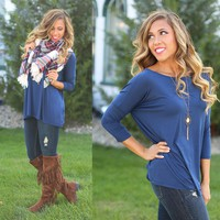 Pretty in Piko Quarter Sleeve Top in Navy - Piko