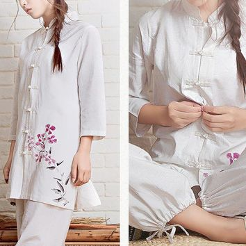 4color high quality cotton&linen Printing lay meditation clothing yoga suits clothes zen uniforms