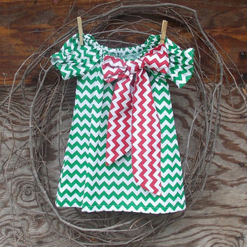 Girls Green Chevron  Dress, Peasant Dress, Christmas  bow, Fall, Christmas, Holidays 6,12, 18 months, 2 T,  3 T, 4 T, 5, 6, 7, 8  size