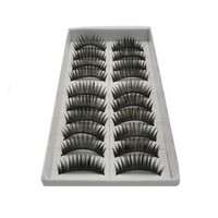 Leegoal 10 Pair Long Black False Eyelashes Eye Lashes Makeup