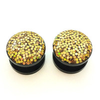 Glitter gold plugs / 2g, 0g, 00g, 1/2, 9/16, 5/8 / fancy plugs / glitter gauges / gold jewelry / gold gauges / sparkle plugs / black plugs